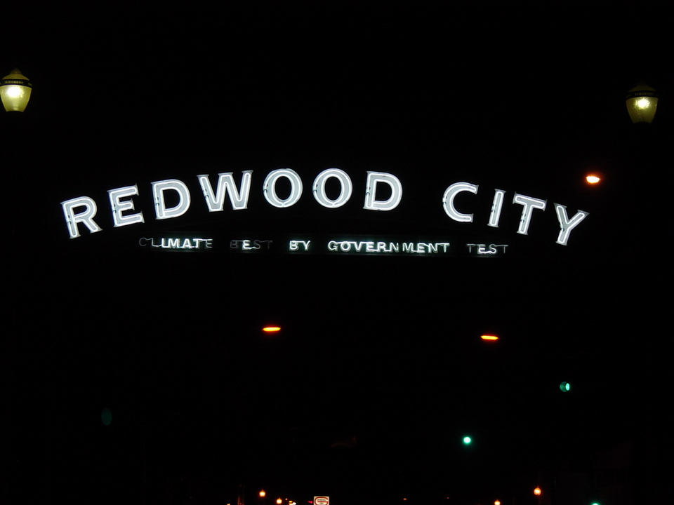Redwood City, CA : Redwood City Sign on Broadway Street