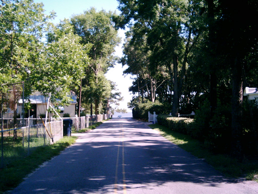 Pass Christian, MS: Menge Ave. view to the Gulf