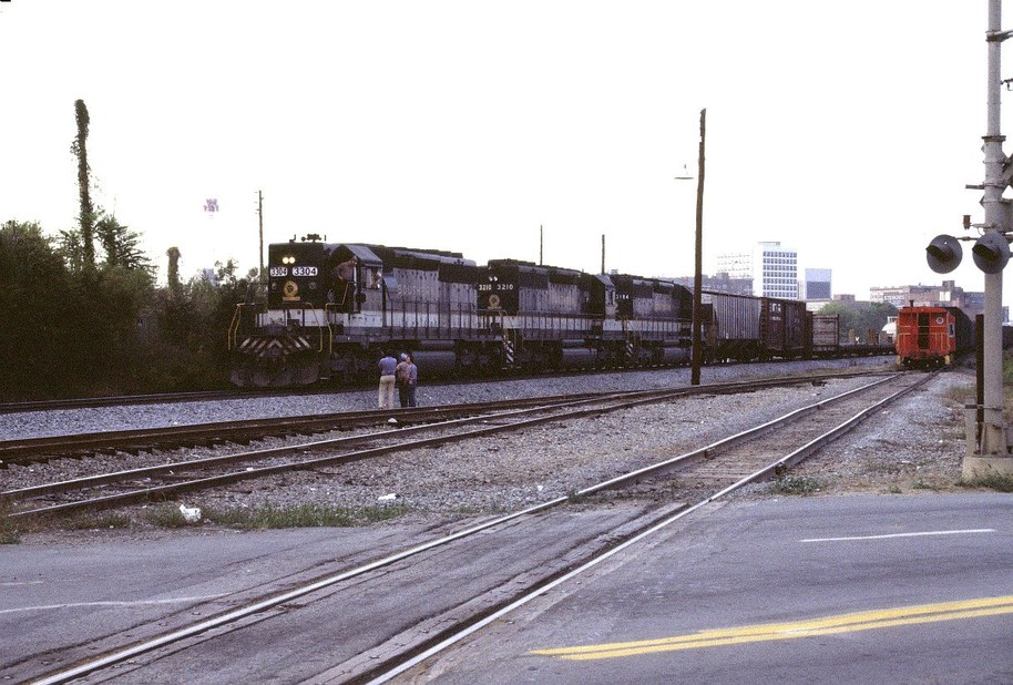 Macon, GA: train yard with downtown in backround