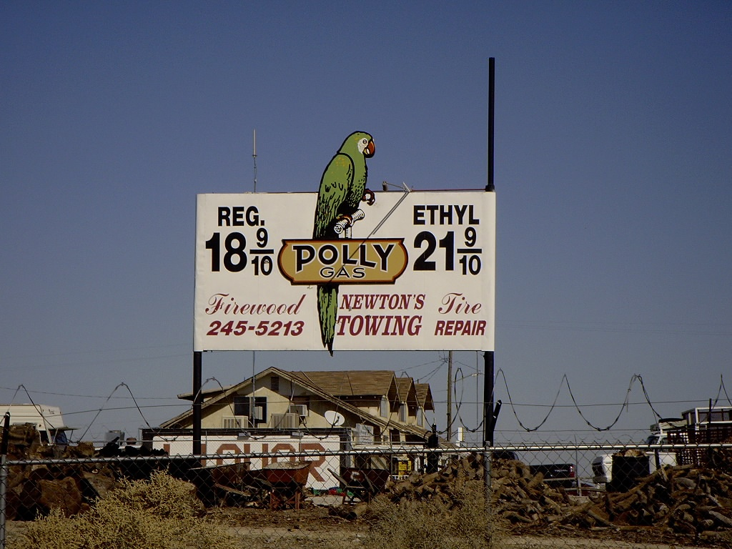 Barstow, CA : Polly Gas sign - Taken in Nov. or 2005 - North of Barstow on Rt. 66