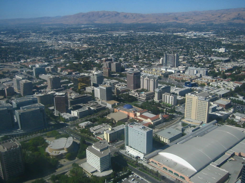 San Jose, CA : Aerial view of downtown San Jose