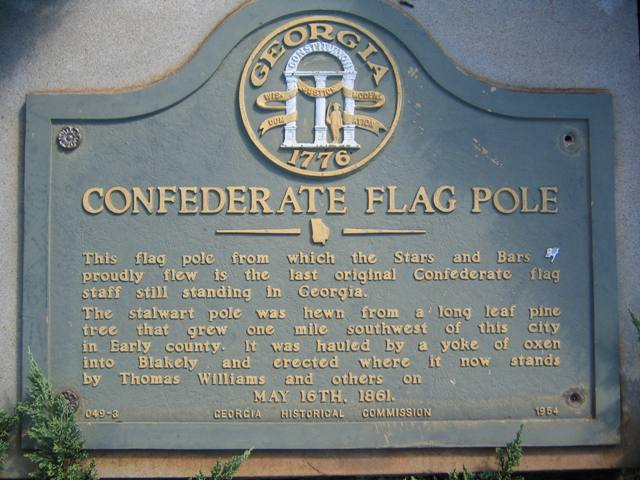Blakely, GA: Confederate Flagpole Plaque