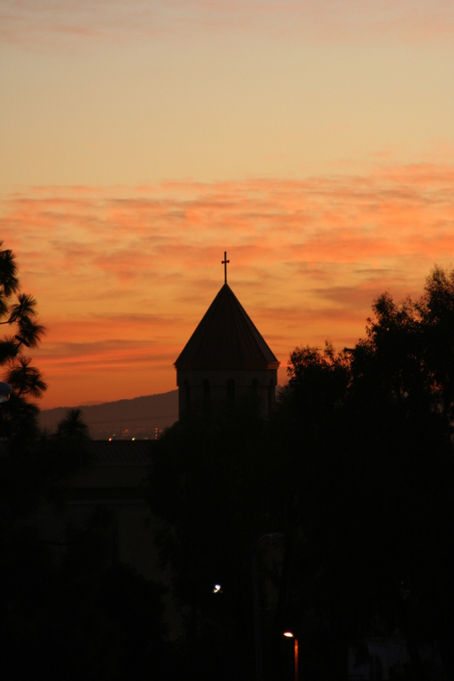 Montebello, CA : Holy Cross Church at Dusk