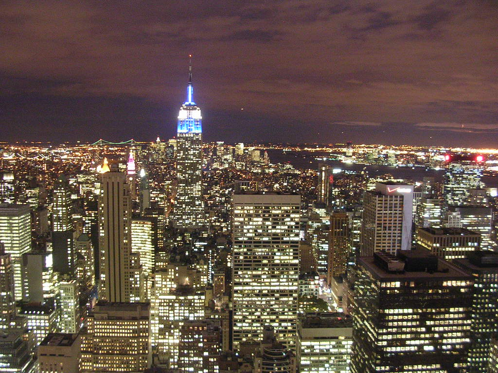 New york ny empire state building at night