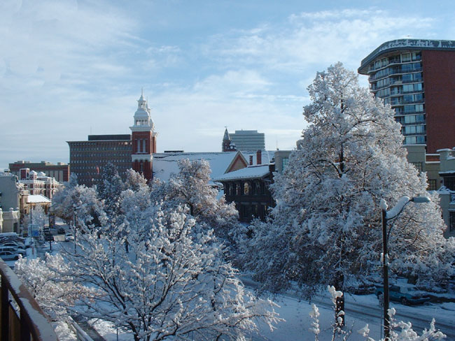 Spokane, WA : Downtown Spokane in winter from Riverside Ave.