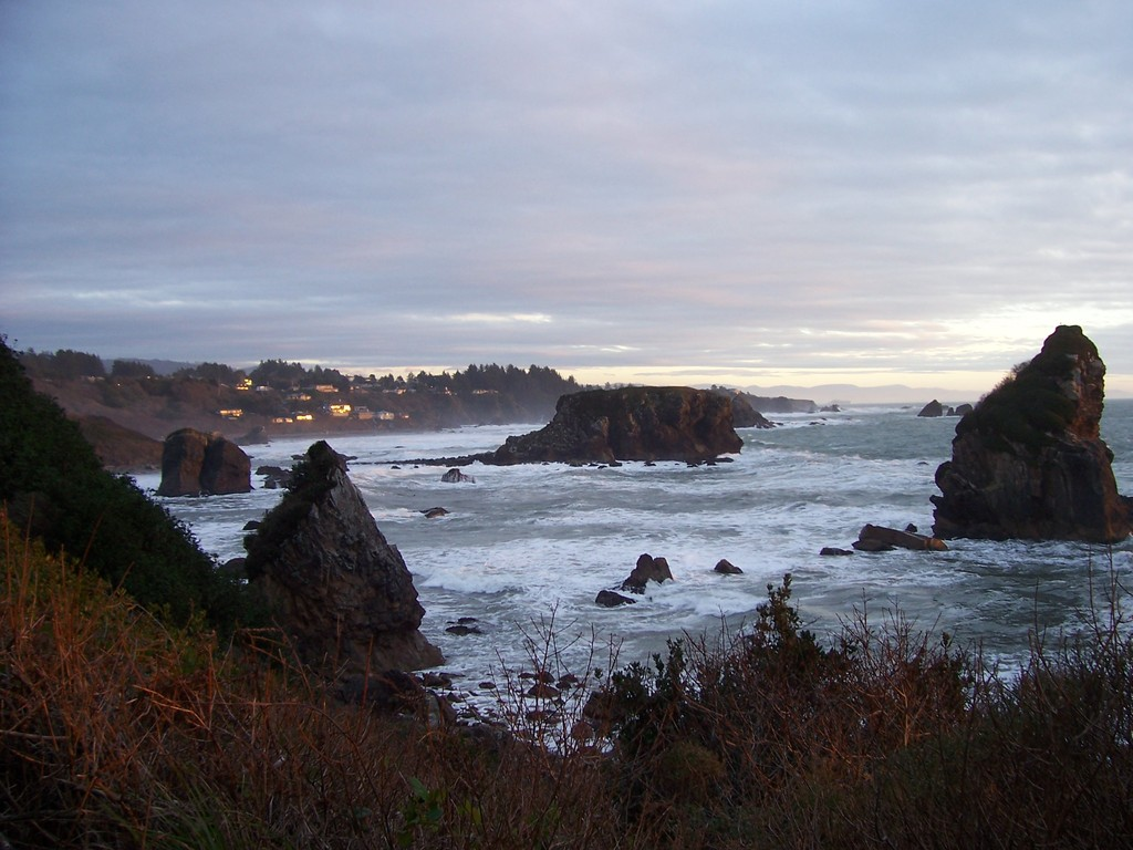 Brookings, OR : Harris Beach and view of houses in Brookings, Oregon
