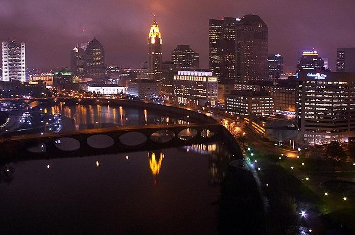 Columbus, OH : The beautiful, elegant downtown Columbus riverfront at night time.