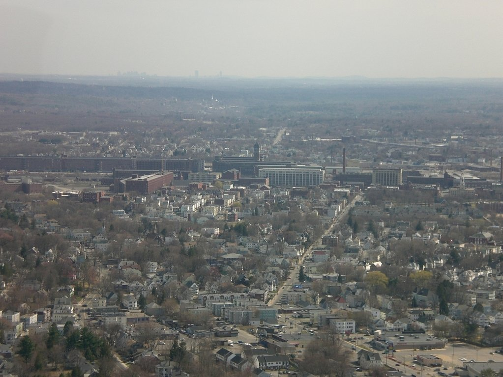 Lawrence, MA: Downtown Lawrence (with Boston skyline on horizon)