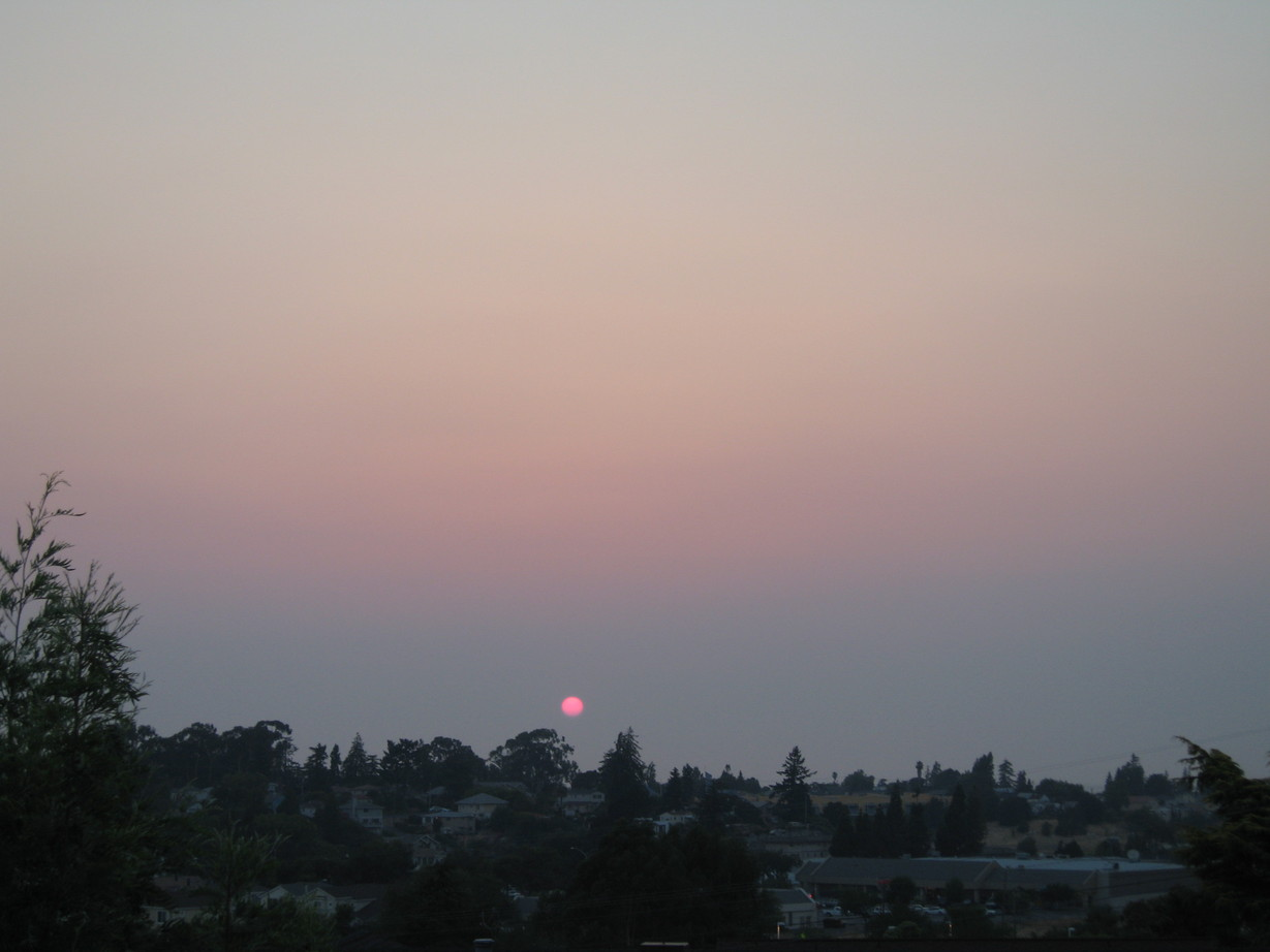 Rodeo, CA : Smokey sunset from the fires. The sun is so red!