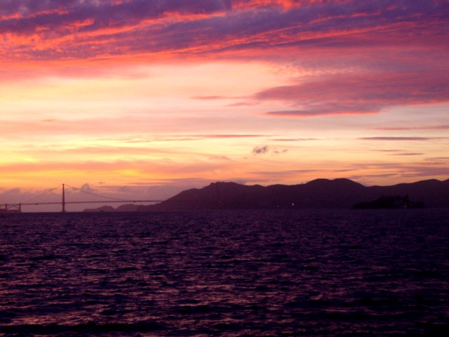 San Francisco, CA: GG Bridge as seen from Yerba Buena Island