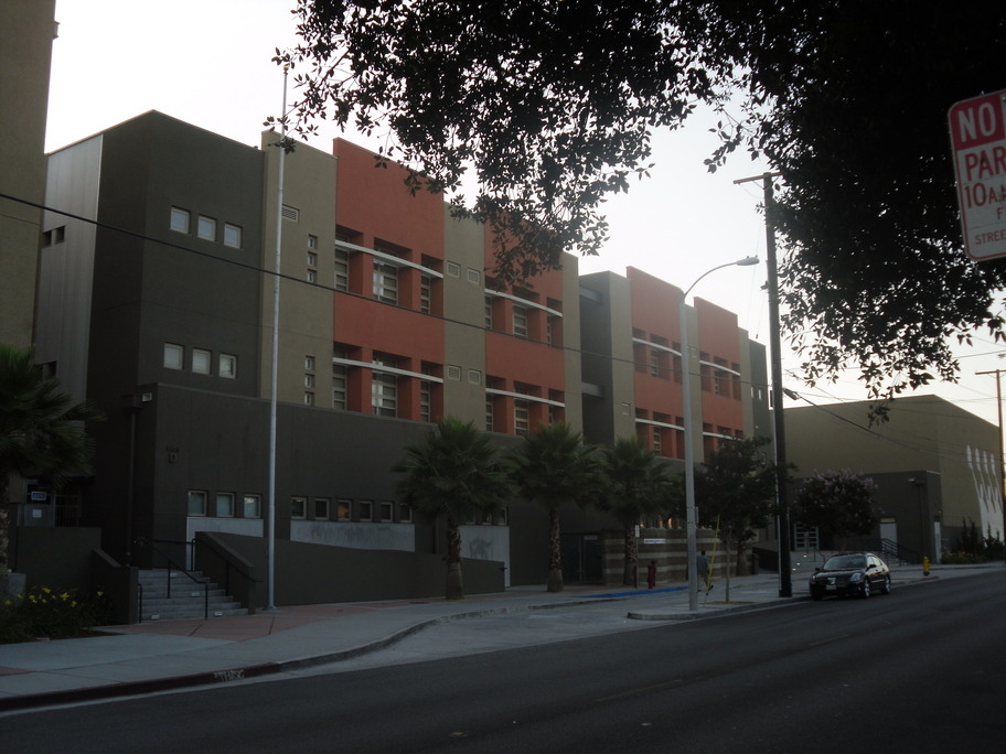 Maywood, CA : The side of Maywood Academy High School in Maywood, CA