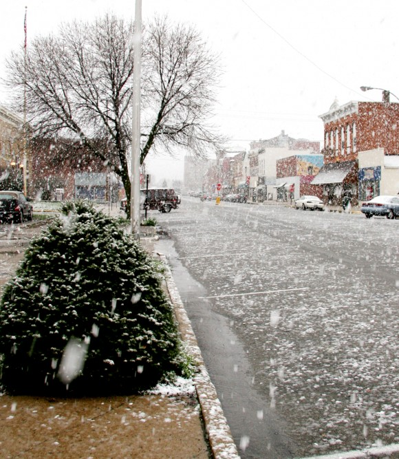 Shelbyville, IN: Large Snowflakes Downtown Shelbyville, Indiana