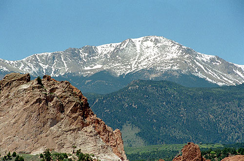 Colorado Springs, CO : Pikes Peak from Garden of the Gods