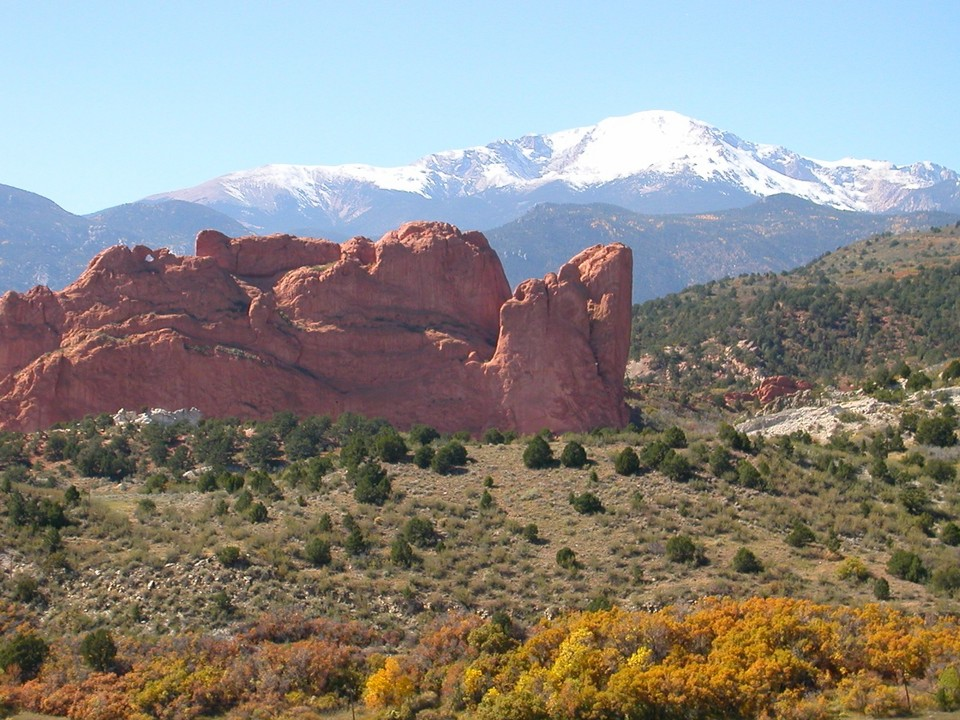 Colorado Springs, CO: Pikes Peak and Garden of the Gods from Overlook on Mesa Road