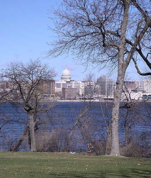 Madison, WI : View of the Capitol from across Lake Monona