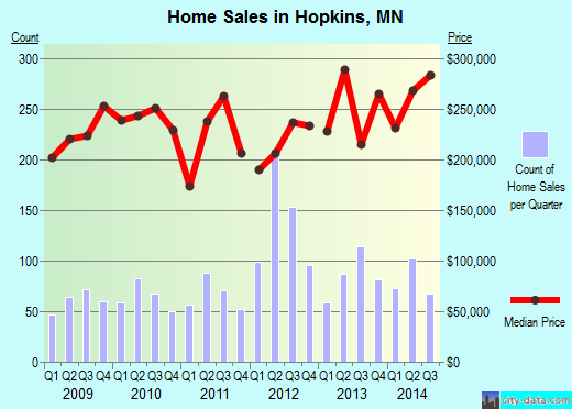 Hopkins,MN real estate house value index trend