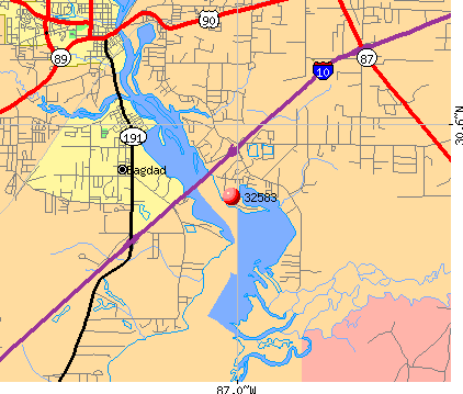 Bagdad, FL (32583) map