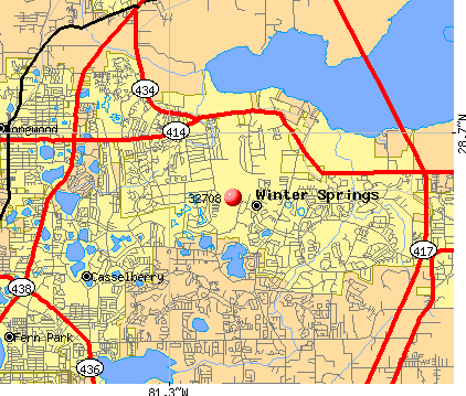 Winter Springs, FL (32708) map