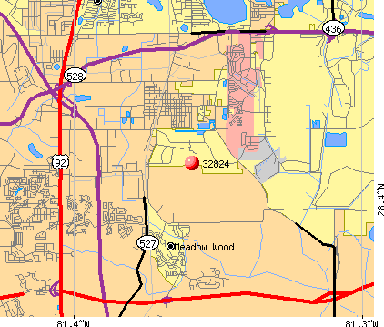 Meadow Woods, FL (32824) map