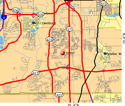 Hunters Creek, FL (32837) map
