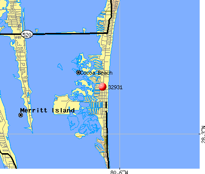 Cocoa Beach, FL (32931) map