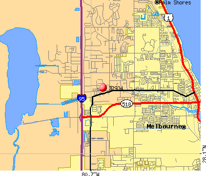 Melbourne, FL (32934) map