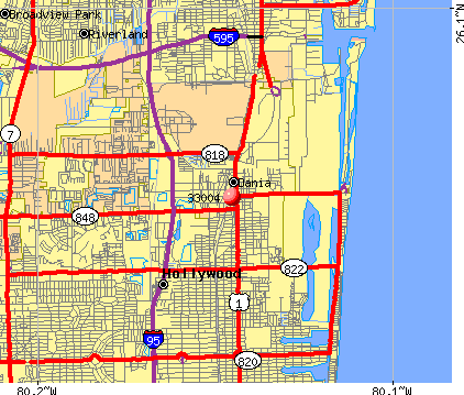 Hollywood, FL (33004) map