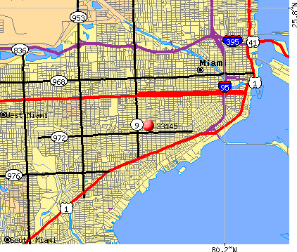Miami, FL (33145) map