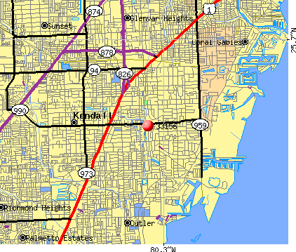 Pinecrest, FL (33156) map