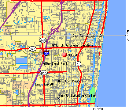 Oakland Park, FL (33334) map