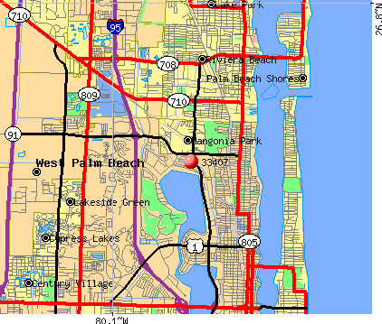 West Palm Beach, FL (33407) map