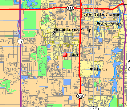Greenacres, FL (33463) map
