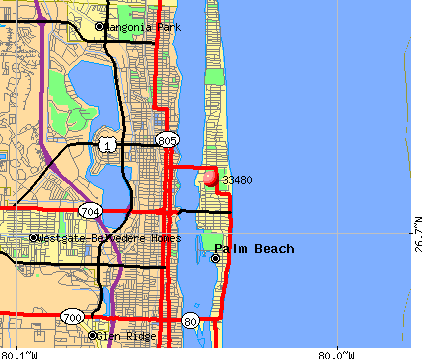Palm Beach, FL (33480) map