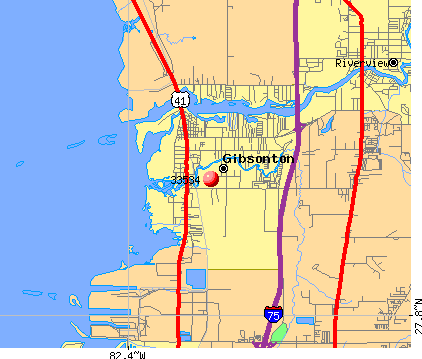 Gibsonton, FL (33534) map