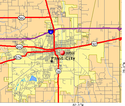 Plant City, FL (33566) map
