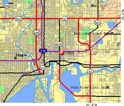 Tampa, FL (33605) map
