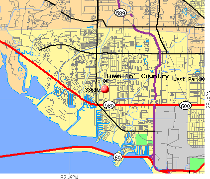 Town 'n' Country, FL (33615) map