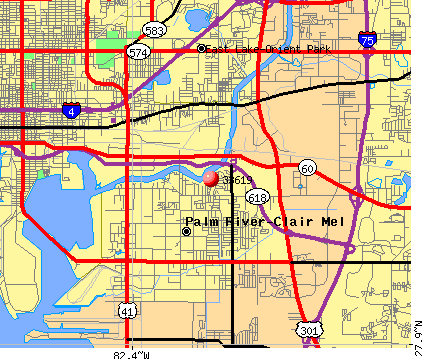 Palm River-Clair Mel, FL (33619) map