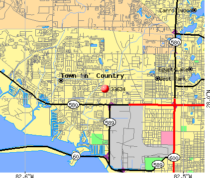 Town 'n' Country, FL (33634) map