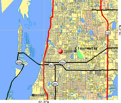 Clearwater, FL (33755) map