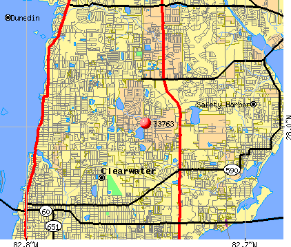 Clearwater, FL (33763) map
