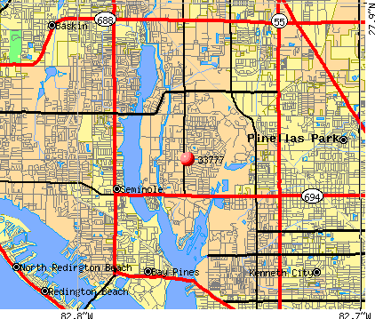 Seminole, FL (33777) map