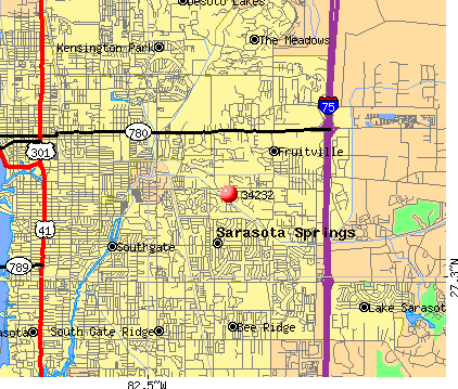 Fruitville, FL (34232) map