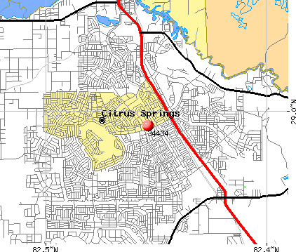 Citrus Springs, FL (34434) map