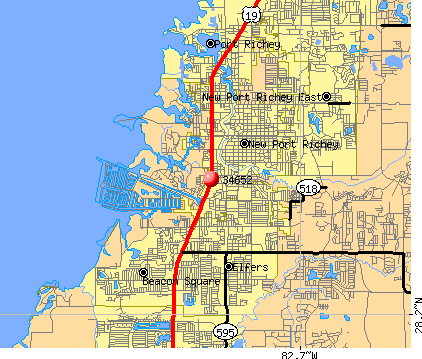 New Port Richey, FL (34652) map