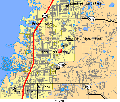 New Port Richey East, FL (34653) map