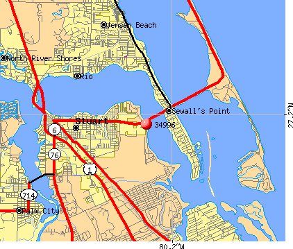 Sewall's Point, FL (34996) map
