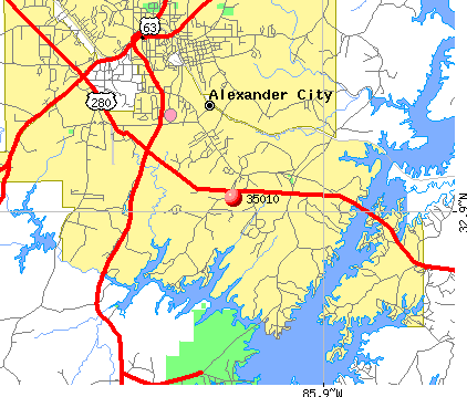 Alexander City, AL (35010) map