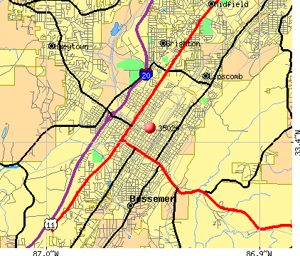 Bessemer, AL (35020) map