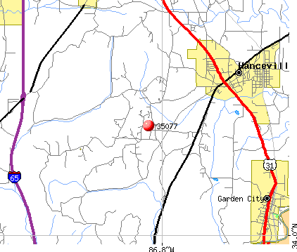 Hanceville, AL (35077) map